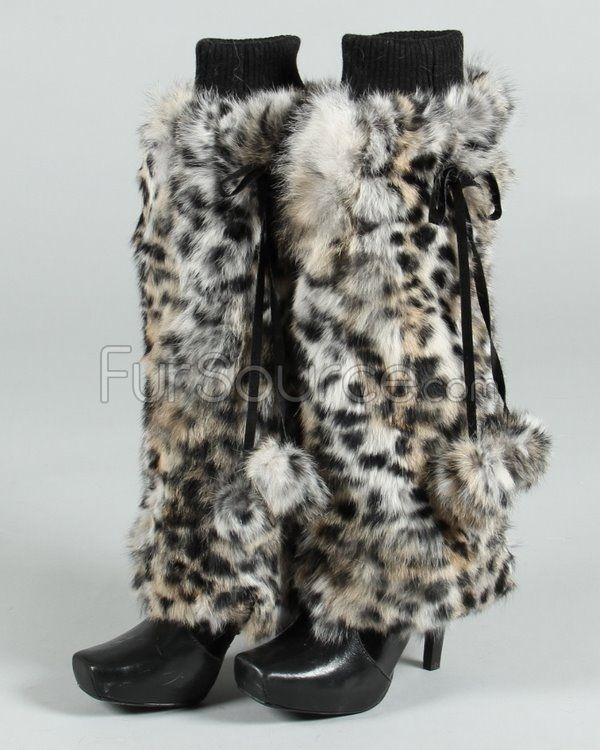 Fur Leg Warmers - Rabbit Fur - Animal Print
