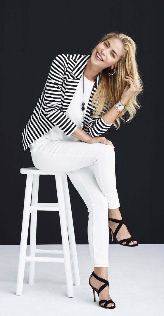 Black and White Striped Blazer