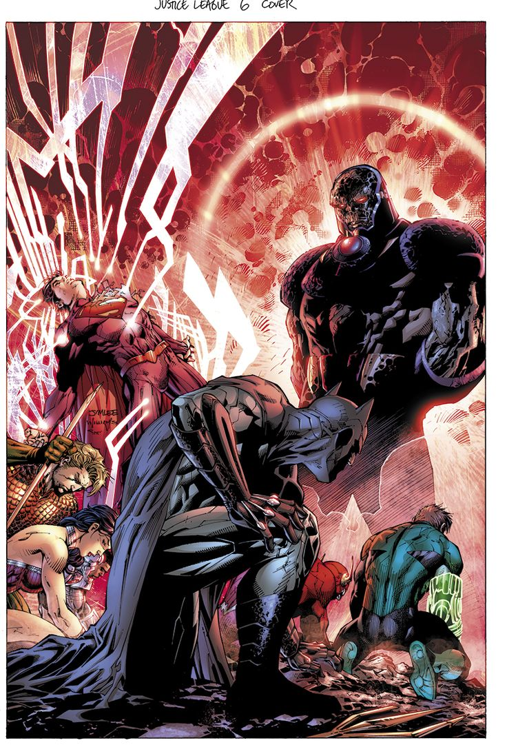 JUSTICE LEAGUE #6 / Darkseid, Superman, Batman, Wonder Woman, Flash, Green Lantern, Aquaman and Cyborg by Jim Lee