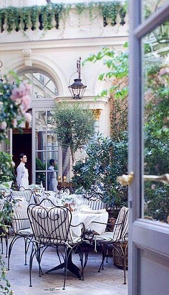 Ralph Lauren Paris - Courtyard cafe restaurant (Bd St Germain, Paris) , in The Ritz Hotel courtyard, Paris