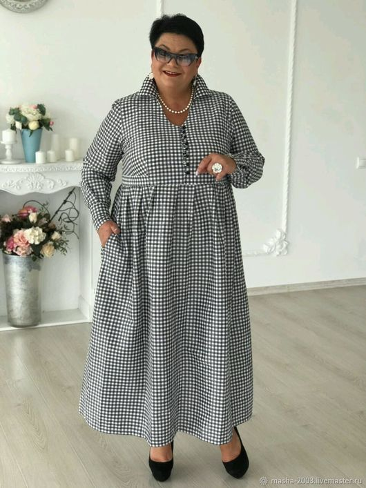 Платья ручной работы. Ярмарка Мастеров - ручная работа. Купить Платье. Handmade. Платье, платье большой размер, бохо, платье в клеточку