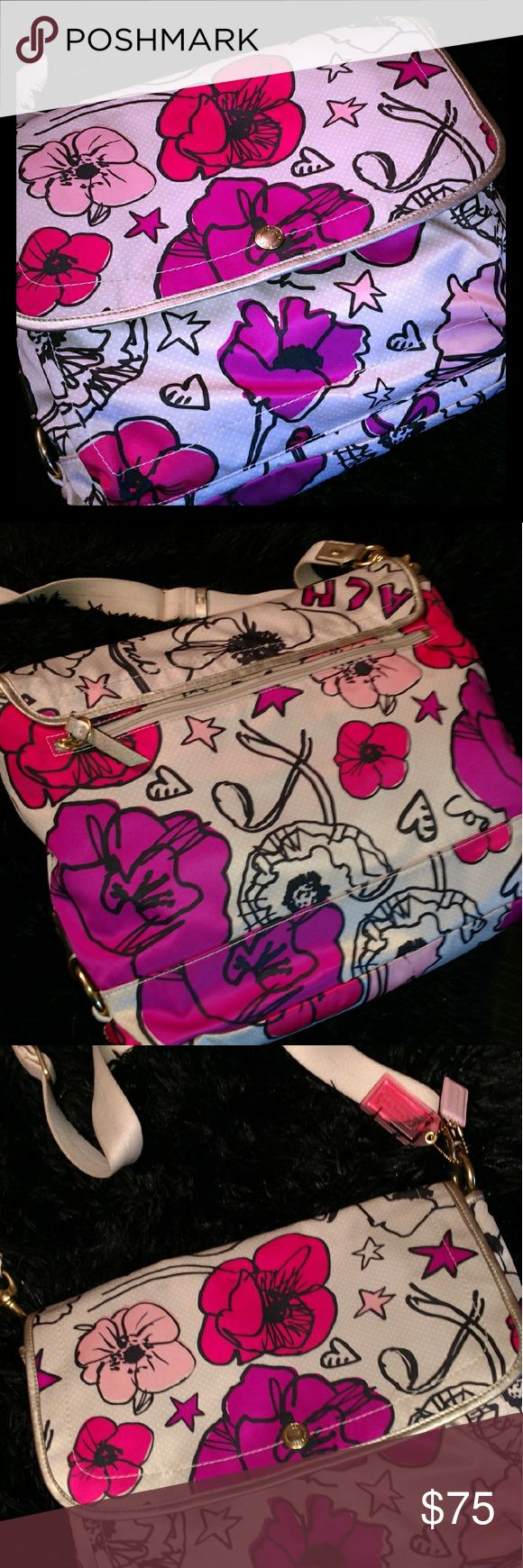 "EUC Super Cute Coach Messenger Bag! Uber cute authentic Coach messenger bag/crossbody bag! Beautiful floral pattern, satin finish 10"" x 13"" in size w/an adjustable canvas handle that can go  approx 30"" in height! Get it in time for spring! Coach Bags Crossbody Bags"