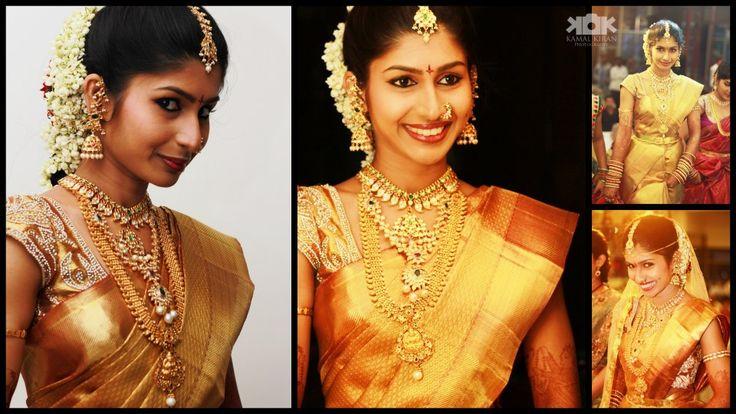 South Indian bride. Temple jewelry. Jhumkis.Gold silk kanchipuram sarees with embroidered blouse.Braid with fresh jasmine flowers. Tamil bride. Telugu bride. Kannada bride. Hindu bride. Malayalee bride.Kerala bride.South Indian wedding.