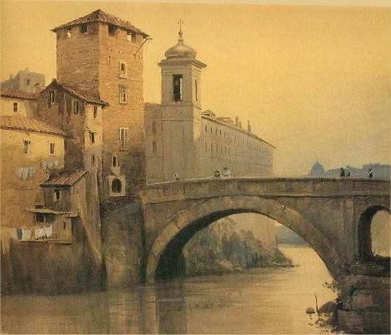 Ettore Roesler Franz,la torre della Pulzella all'Isola Tiberina Acquerello,1880 circa