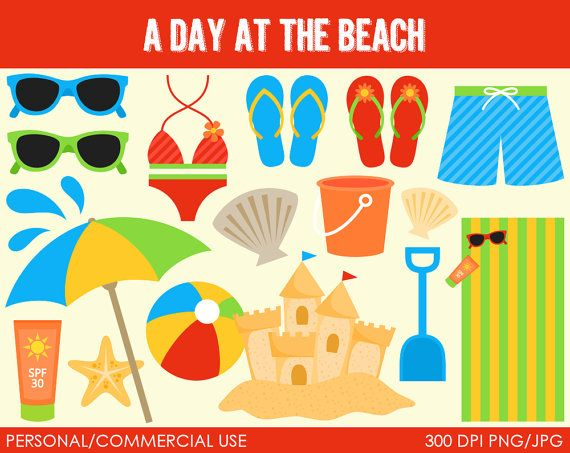 A Day at the Beach Clipart  Digital Clip Art by MareeTruelove, $5.00