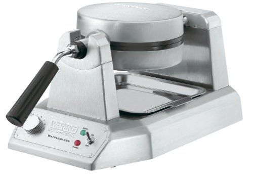 Waring  (WW180) 25 Waffle/Hr Single Belgian Waffle Maker  This single Belgian waffle maker features heavy-duty commercial construction for durability. Designed with triple-coated nonstick plates that allows for easy removal of waffles and quick cleanup. Heating elements are embedded into plates for precise temperature control and even heat distribution, for a consistent golden-brown result. Includes power on and ready-to-bake LED indicators. Ready lights and audio beep signal when th..