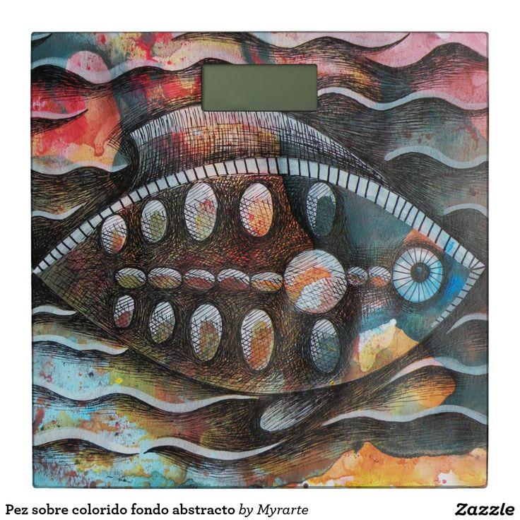 Pez sobre colorido fondo abstracto. Producto disponible en tienda Zazzle. Decoración para el hogar. Product available in Zazzle store. Home decoration. Regalos, Gifts. Link to product: http://www.zazzle.com/abstracto_del_fondo_del_colorido_del_sobre_de_pez_bascula-256411448875639007?lang=es&CMPN=shareicon&social=true&rf=238167879144476949 #báscula #scale #pez #fish