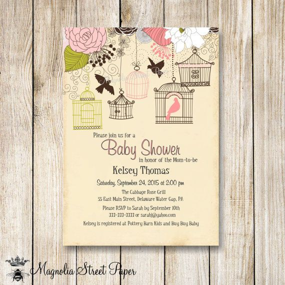 bird cage baby shower invitation bird baby shower invite rustic baby girl baby shower baby bird shower invite