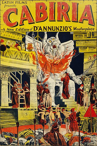 Cabiria is an Italian silent film from 1914. Directed by Giovanni Pastrone and starring Bartolomeo Pagano, it follows several episodes of Italian history. It was the film debut of the character Maciste and the first film screened at the White House. (Poster: N. Morgello; Restoration: Jujutacular)