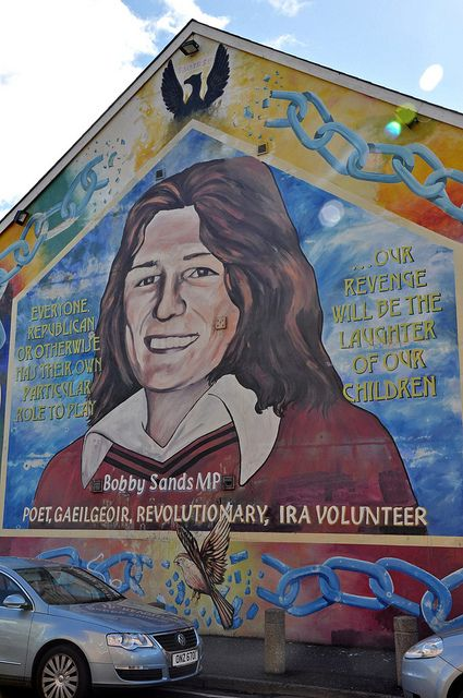Bobby Sands mural in the Falls Road (Catholic) neighborhood of West Belfast,   IRELAND.   (by Anosmia, via Flickr)