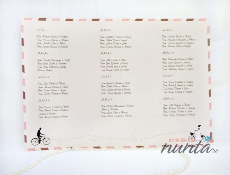 Lista cu asezarea invitatilor la mese roz Love Bicycles ce are ilustrati doi miri pe biciclete.
