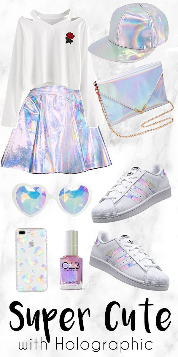 Get this look. You will look Super Cute with this Holographic Stuff. Holographic as in reflecting rainbow spectrum. it's shiny and metallic silver but with rainbow. another word for holographic would be prismatic, laser hologram, rainbow metallic, color shifting and often mistaken as iridescent and opalescent.