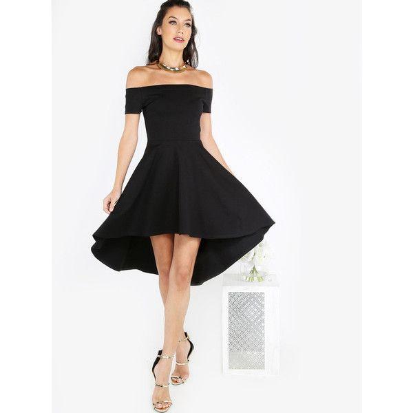 Bardot Skater Dress BLACK (160 CNY) ❤ liked on Polyvore featuring dresses, black and skater dress
