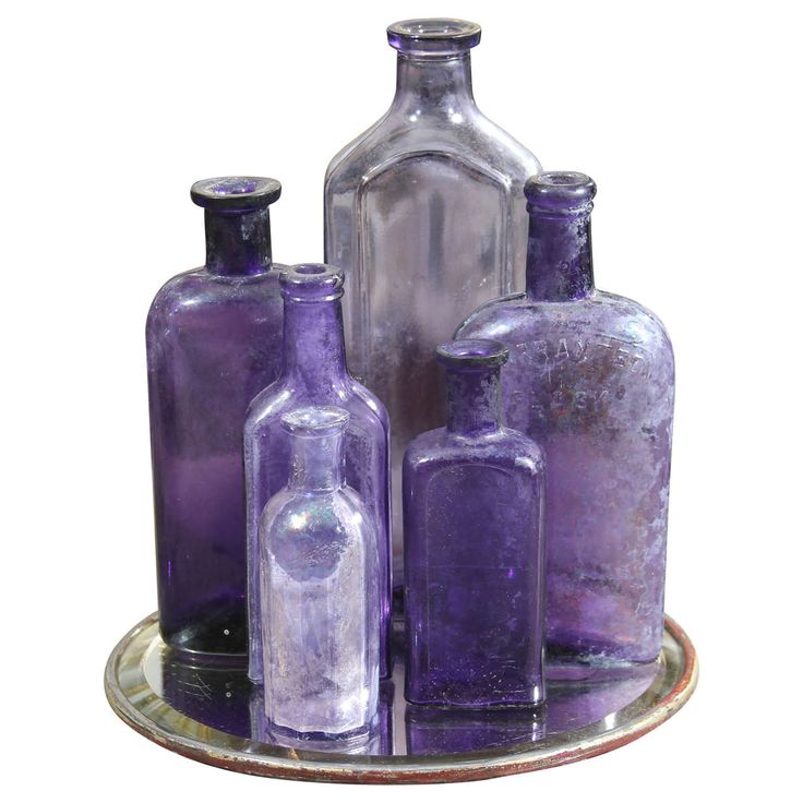 Group of Six Purple Bottles | From a unique collection of antique and modern decorative objects at http://www.1stdibs.com/furniture/more-furniture-collectibles/decorative-objects/