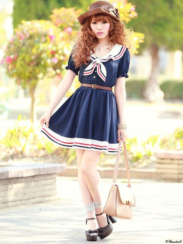 2014 New Fashion Women's Cute Japanese Sailor Navy Striped Chiffon Dress Was Thin College Wind Dark Blue