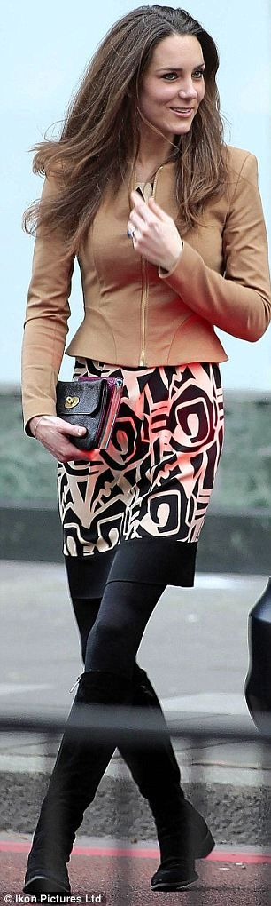 Kate wearing Diane von Furstenberg dress and Whistles jacket at lunch with Camilla on 2/2011