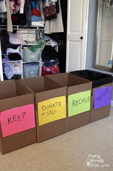 Boxes for all of these things (minus keep) are a must for a small space. Especially donate or sell! But don't forget compost!