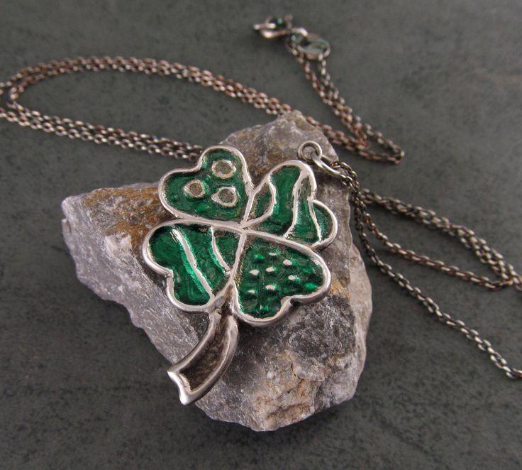 Shamrock pendant, handmade recycled fine silver 4 leaf clover necklace-OOAK Irish Luck by envydesignsjewelry on Etsy