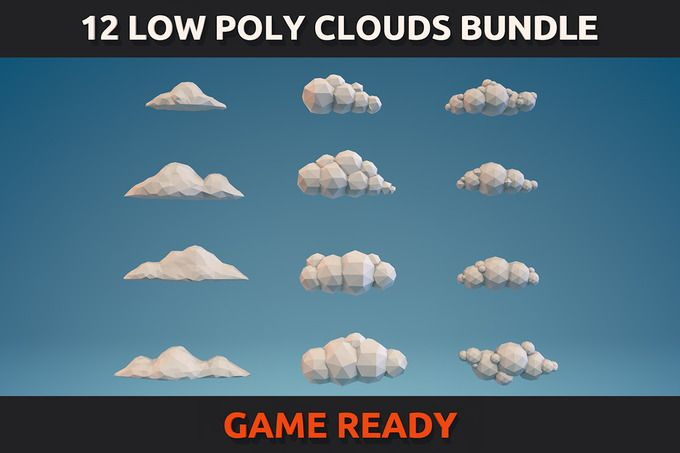 12 Low Poly Clouds Bundle by CreativeeArt on @creativemarket