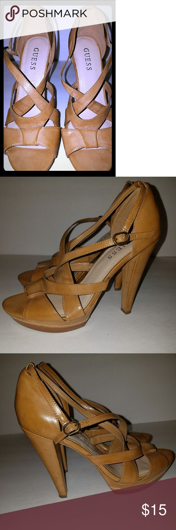 EUC GUESS Camel Strappy Stilletos size 8 EUC GUESS Camel Strappy Stilletos size 8 Manmade, but looks like leather Guess Shoes Heels