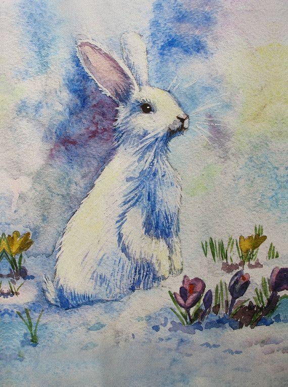 Prints on Canvas - Fine Art Watercolor on Canvas - Christmas Decor - White Bunny - Painting watercolour - Rabbit PRINT - 8.4 x12'' -