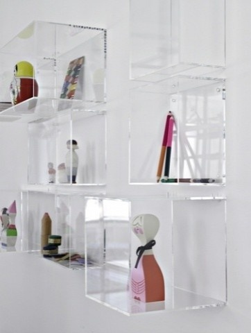 Clear shelving to add color with hand soaps, lotions, face towels, etc. without taking up space.