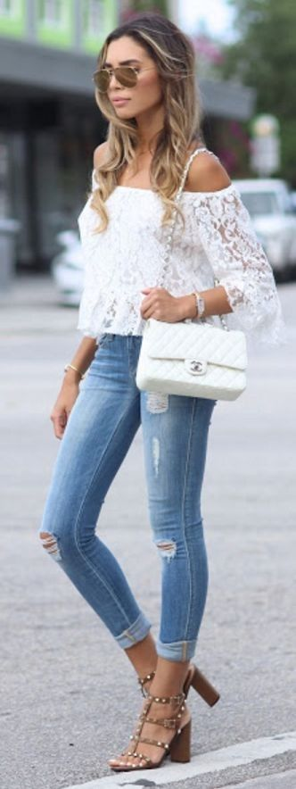 #spring #trends #fashionistas #outfitideas | White Lace Blouse + Ripped Skinny Denim | Jasmine Tosh Lately
