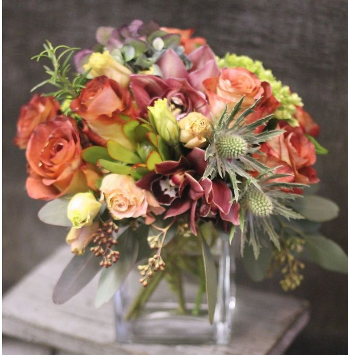 Roses, orchids and thistle by BloomNation local florist, Gotham Florist, for $85.00: