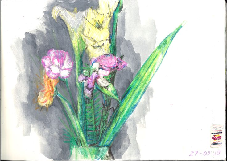 Flowers... Water colour resist with twistable crayons