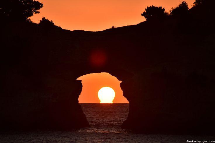 円月島とだるま夕日