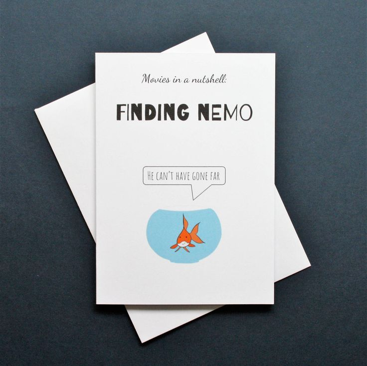 Funny Finding Nemo card, Finding Nemo card, Finding Nemo movie, Finding Nemo film, Movies in a nutshell by Designerpoems on Etsy