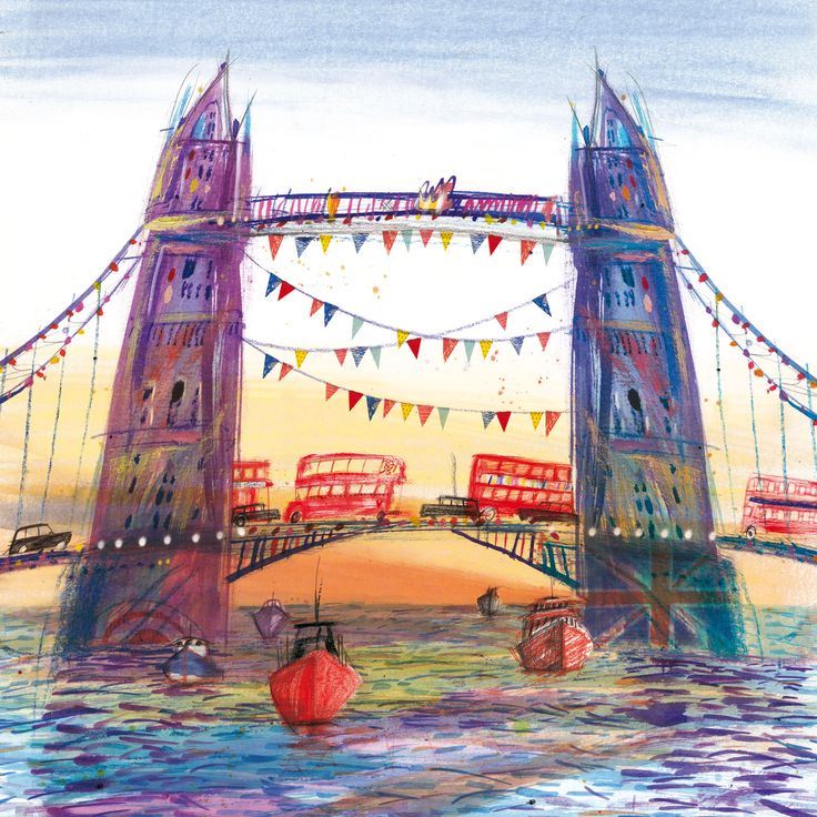 Tower Bridge (LHC21) London Town and City Canvas by Laura Hughes http://www.thewhistlefish.com/product/tower-bridge-canvas-by-laura-hughes