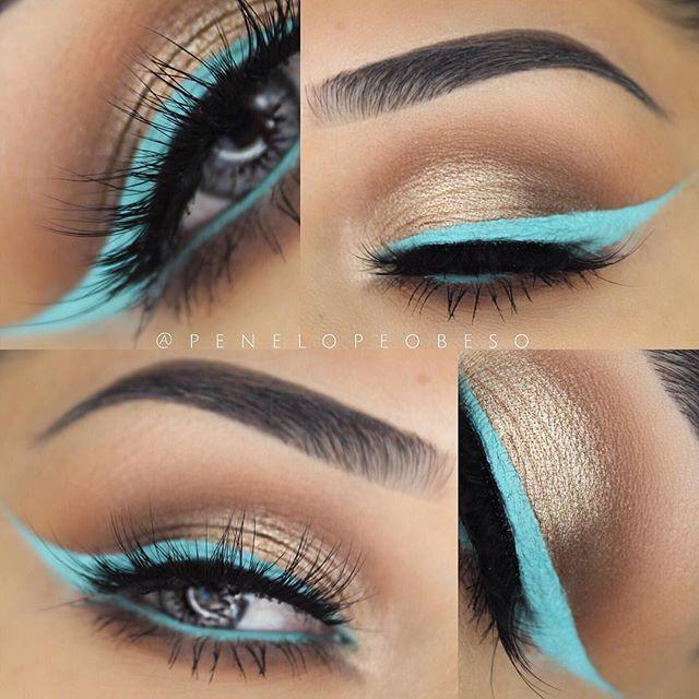 "Beautiful look @penelopeobeso BROWS: Brow Powder in Granite & Ash Brown EYES: Modern Renaissance palette on my crease ""Raw Sienna"" & ""Burnt Orange"" on my outer corner ""Cyprus Umber"" lower lash line same shadows | for the eyeliner MUFE flash palette in ""Turquoise"" #anastasiabeverlyhills"