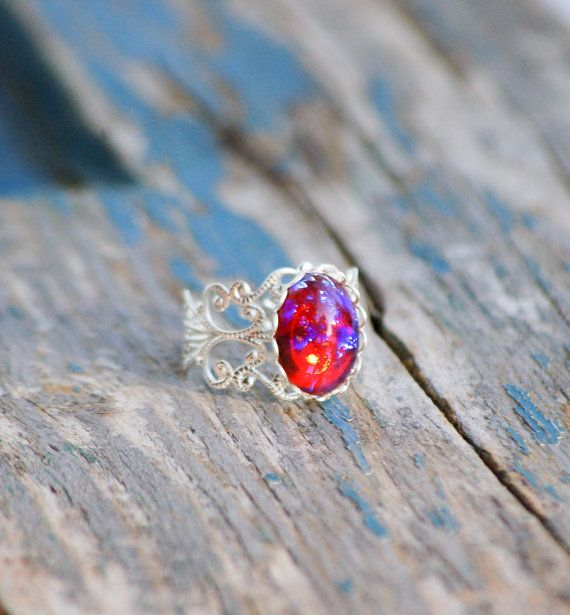 Opal RING Silver Filigree Ring Vintage  Mexican by redtruckdesigns