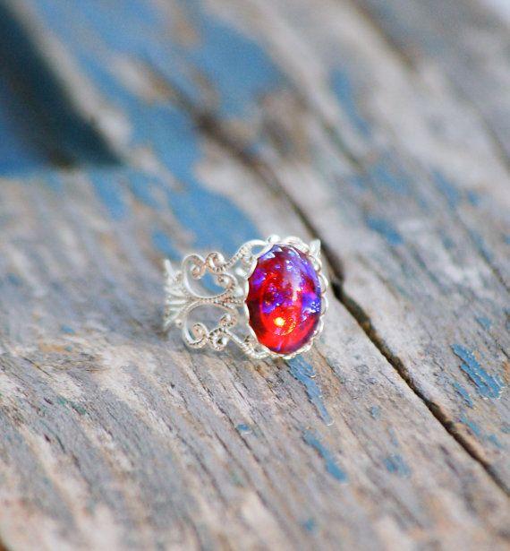 Respiro Opal Birthstone opale anello filigrana di redtruckdesigns