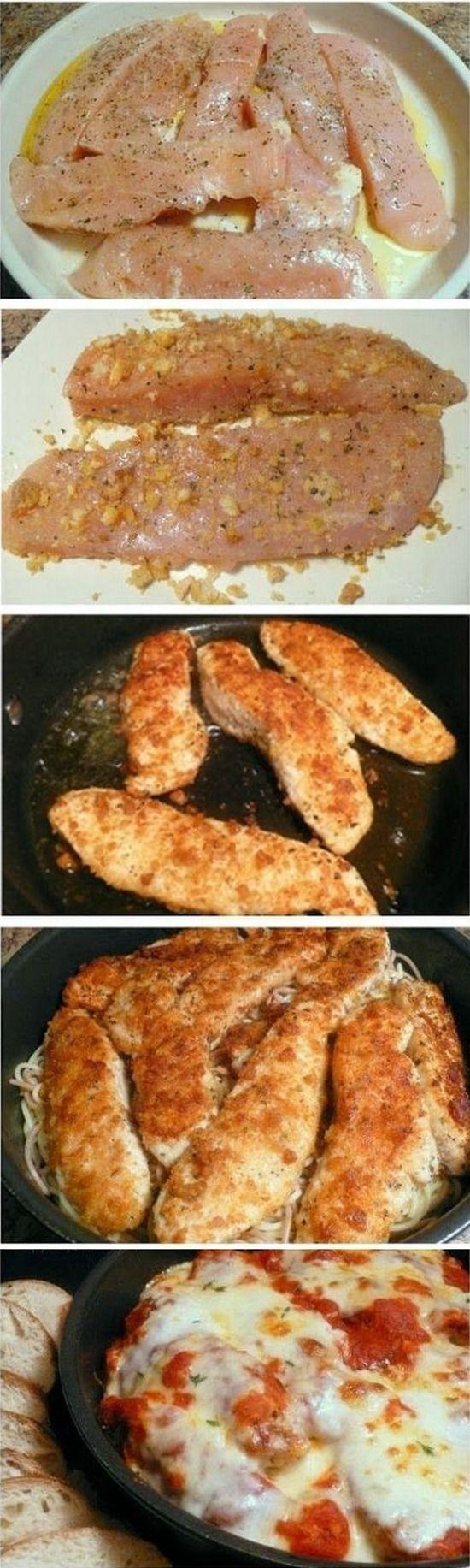 Skillet Chicken Parmesan Over Pasta | Gurman chef