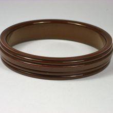Vintage Bakelite Grooved Milk Chocolate Brown Bangle Bracelet