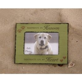 """Paw Prints in Heaven...Paw Prints on My Heart"" is the perfect sentiment to describe how much your loyal friend meant to you and how your pet's love will always be in your heart.      This heart-felt frame is an ideal way to honor and remember your special pet.  Whenever you see this frame with your pet's photo, you will be reminded of your pet's love. $14.99"