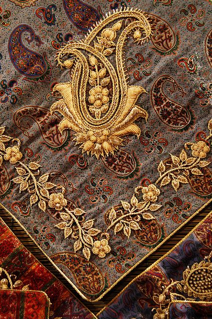 goldwork embroidered paisley