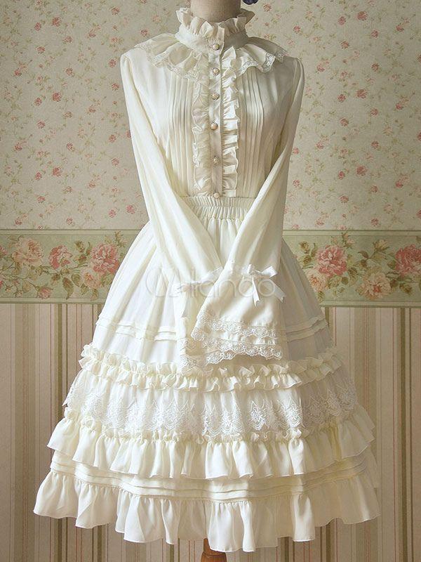 White Ruched Chiffon Lolita Dress for Women