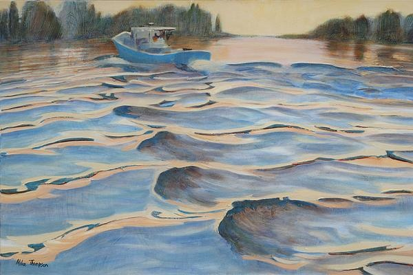 Michael Cunliffe Thompson  Wake at Sunset Painting  - Wake at Sunset Fine Art Print