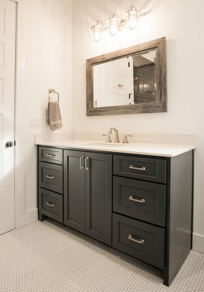 Peppercorn Sherwin Williams Black Cabinet Paint Color Wood Doors Interior Modern Farmhouse Interiors French Country Bathroom