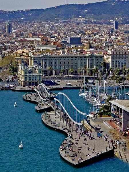 La Rambla del Mar, Port Vell, Barcelona, Spain..