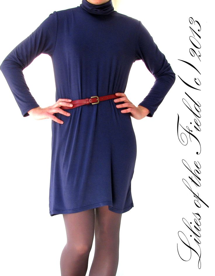 Poloneck knit dress, wear as dress or layer as tunic.