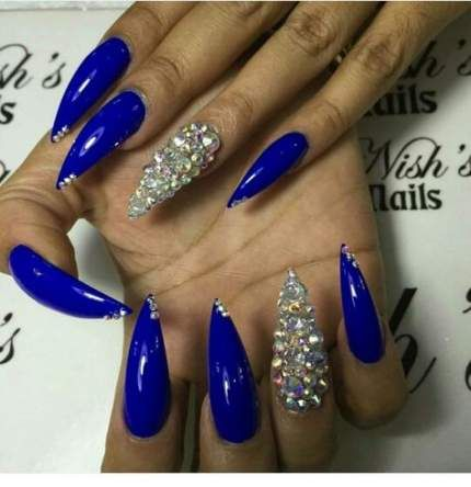62 trendy royal blue nails bling in 2020  blue stiletto