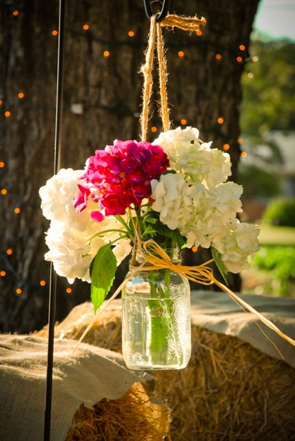 Mason Jar Hanging Wedding Flowers - Perfect for a Country/Vintage Wedding <3
