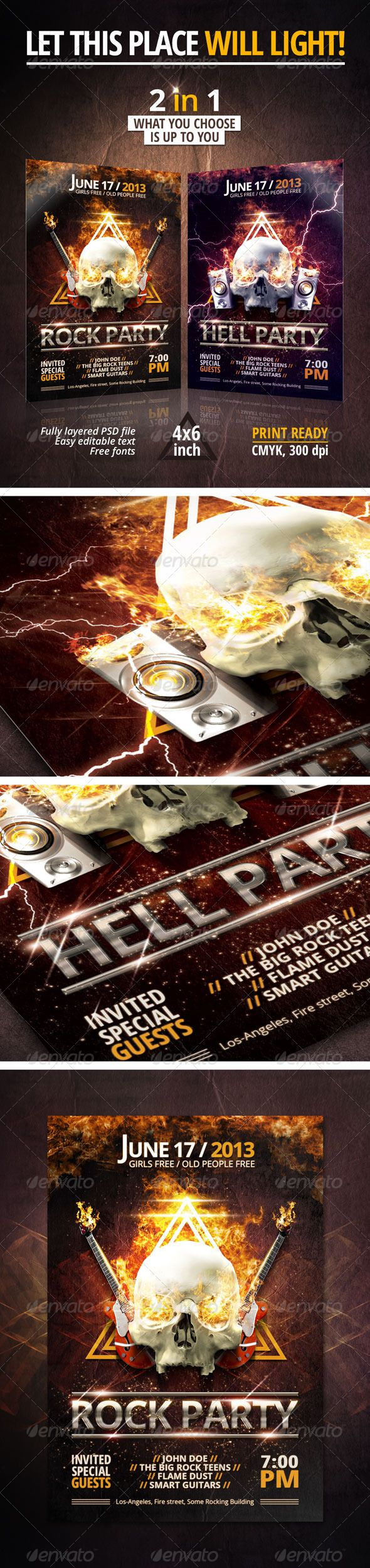 Rock/Hell Party Flyer - Clubs & Parties Events