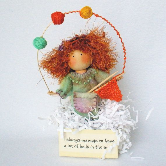 Clothespin Art Doll Knitter Juggling Yarn by HeartStringsHandmade...Pegtales™ are one of a kind original clothespin dolls, each with their own unique quotes or sayings. Each doll is signed, numbered and dated...This little clothespin art doll knitter is a crafter extraordinaire....always busy creating and juggling all of life's demands! The first in a new series of Pegtales,