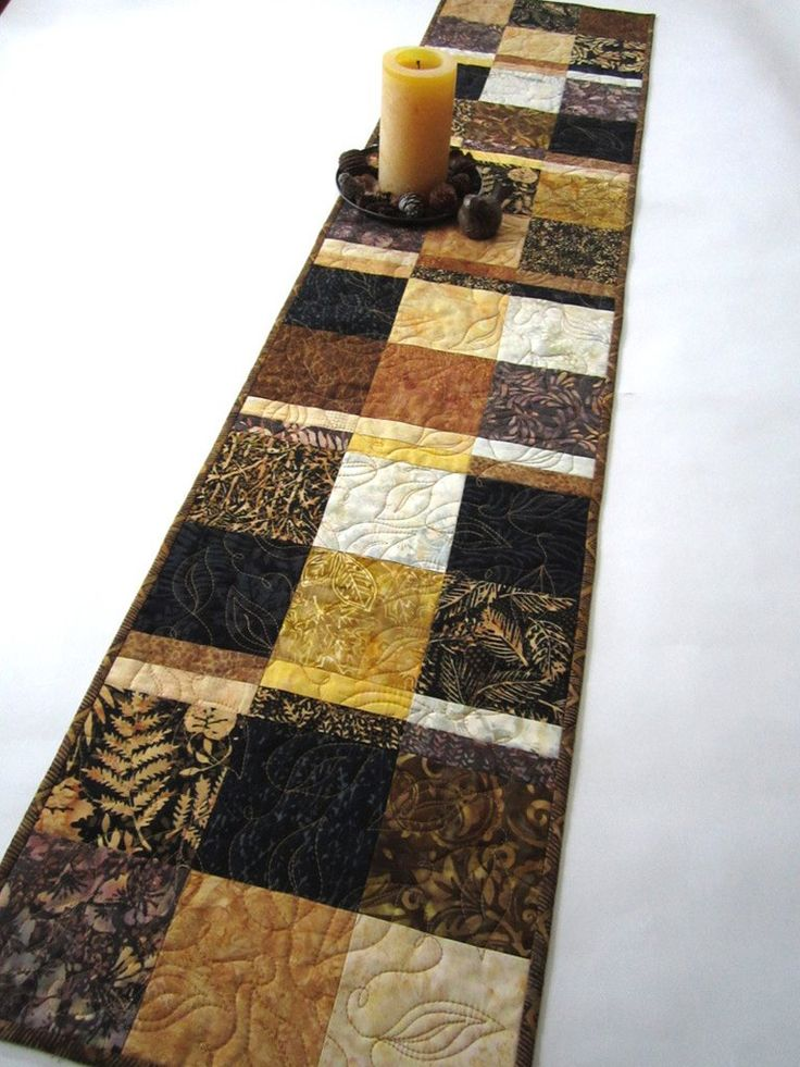 Brown, Black and Gold Batik Table Runner