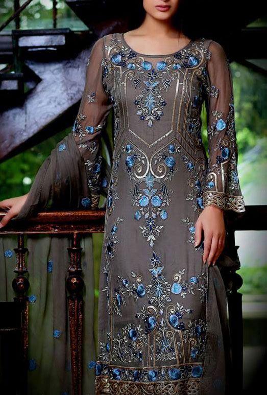 Buy Dark grey Embroidered Chiffon Dress by Embellish 2015.